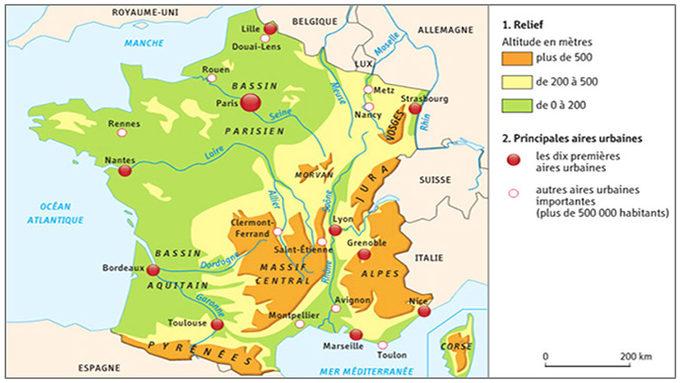 Carte de France fleuves et montagnes